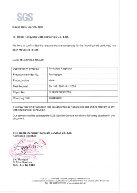 Porcellana Hebei Pengyuan Optoelectronic Co.,Ltd Certificazioni